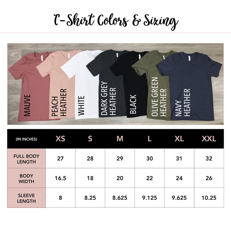 unisex shirt color options