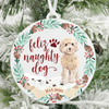 Feliz Naughty Dog Tan Cockapoo Christmas Ornament