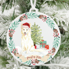 Personalized White Border Collie Christmas Ornament