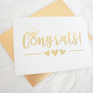 Congrats Engagement Ring Foiled Card & Envelope