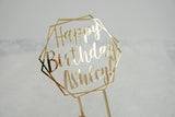 Personalized Hexagon Happy Birthday Cake Topper