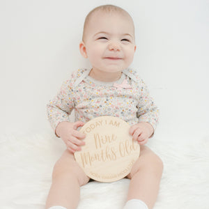 "Personalized ""Today I Am"" Baby Monthly Photo Wood Sign Set"