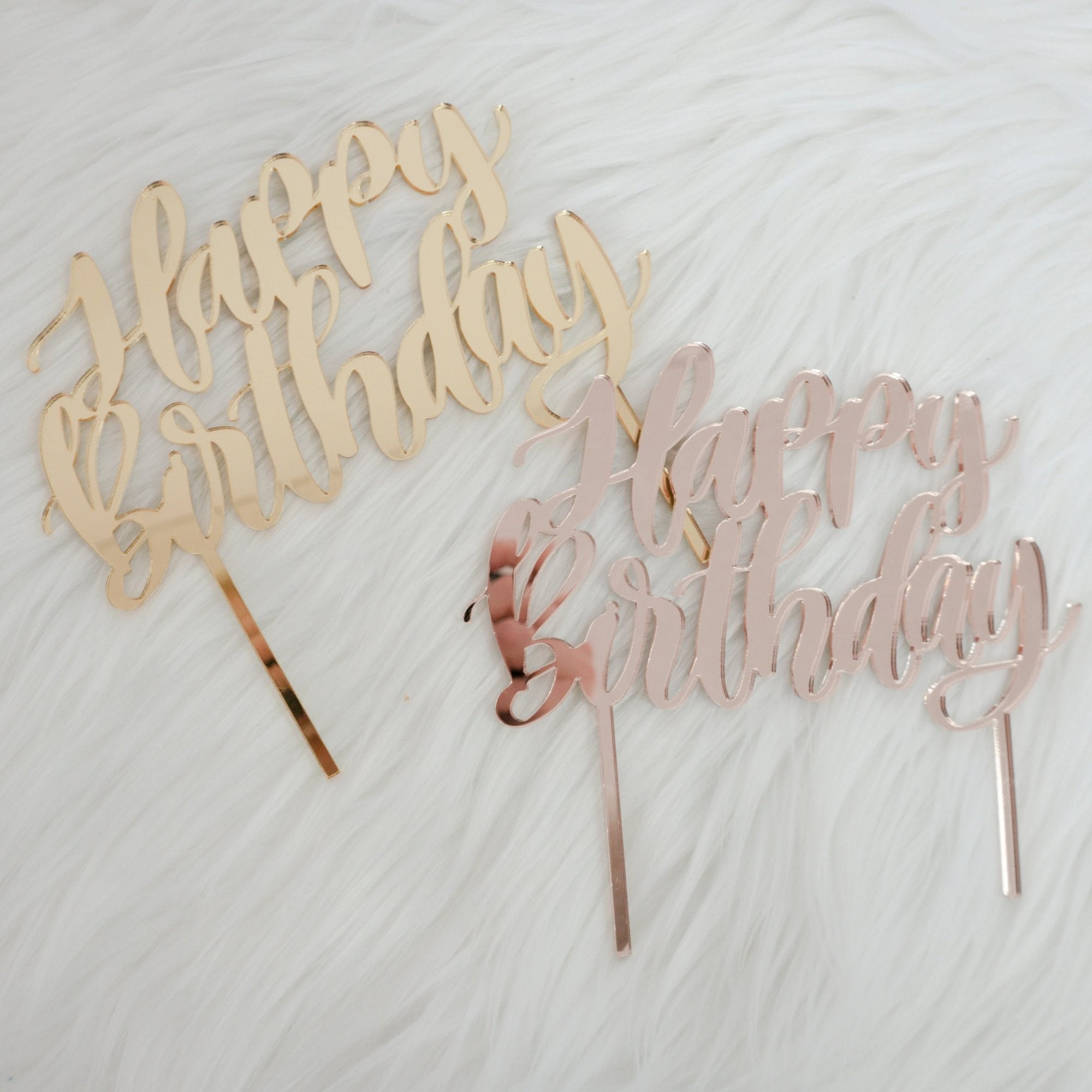 Calligraphy Style Happy Birthday Cake Topper