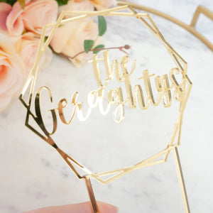 Personalized Hexagon Wedding Cake Topper