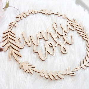 Custom Name Wreath Wood Laser Cut Out