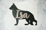 Personalized Name German Shepherd Vinyl Decal