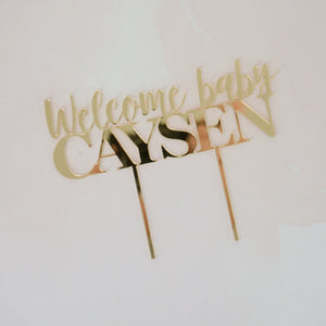 Personalized Welcome Baby Shower Cake Topper