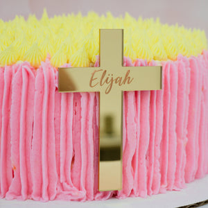 Cross Baptism Personalized Cake Plaque