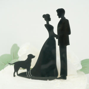 Bride and Groom with Dog Silhouette Cake Topper