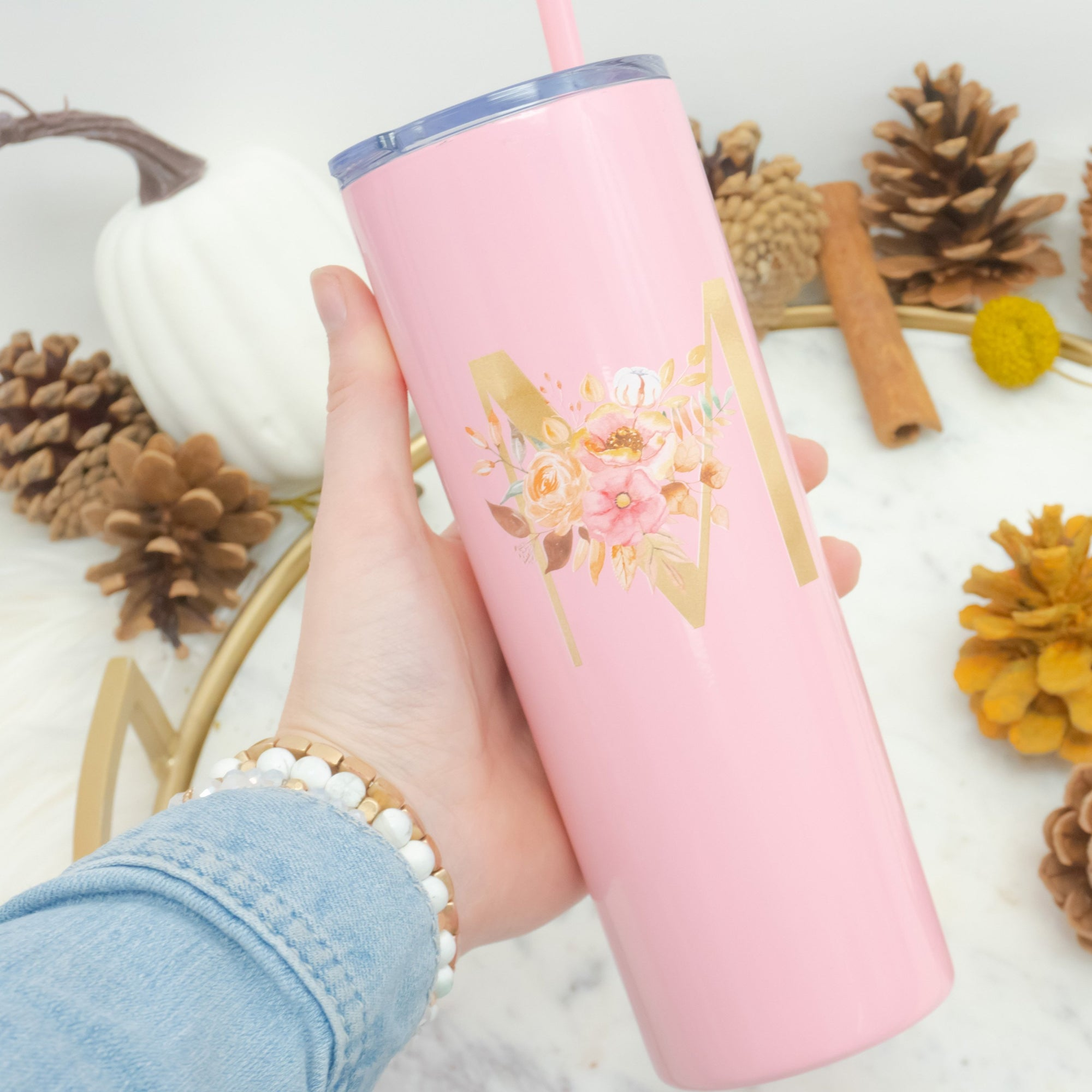 Fall Floral Initial Tall Tumbler