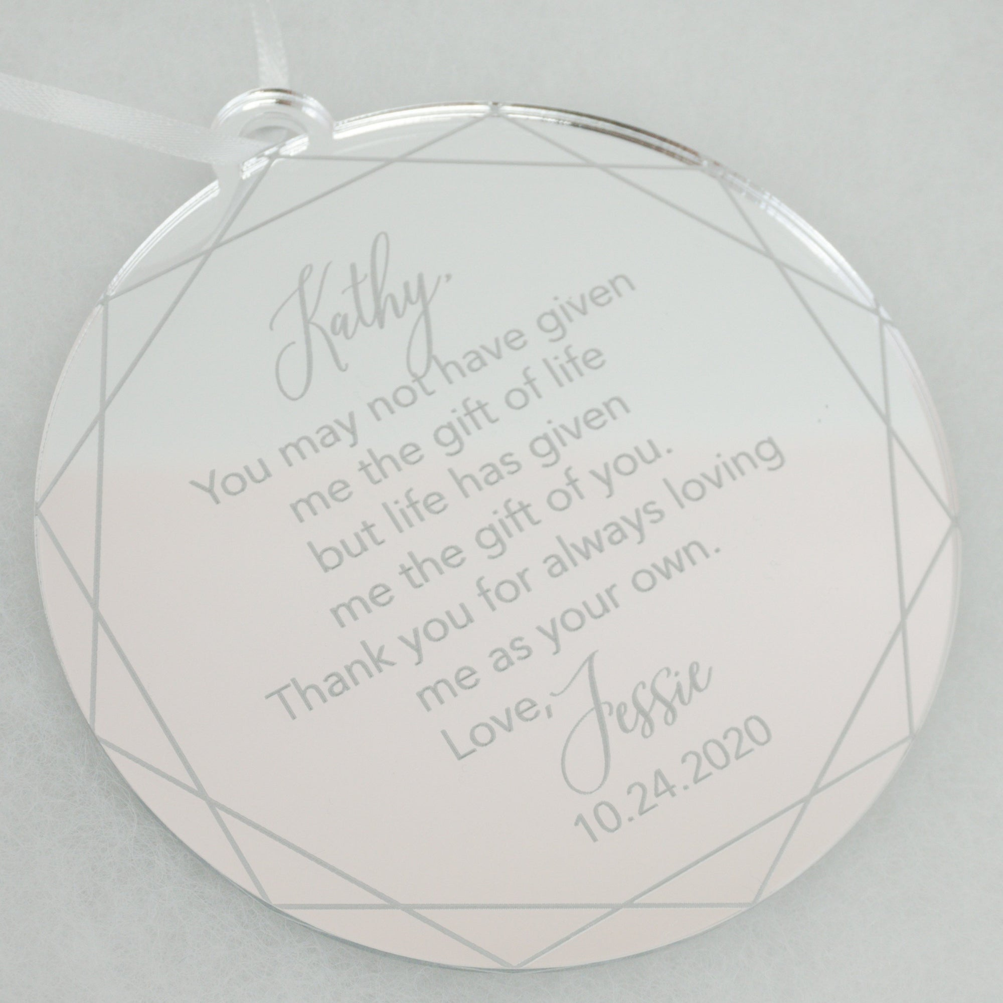 Thank You for Always Loving Me as Your Own Engraved Ornament