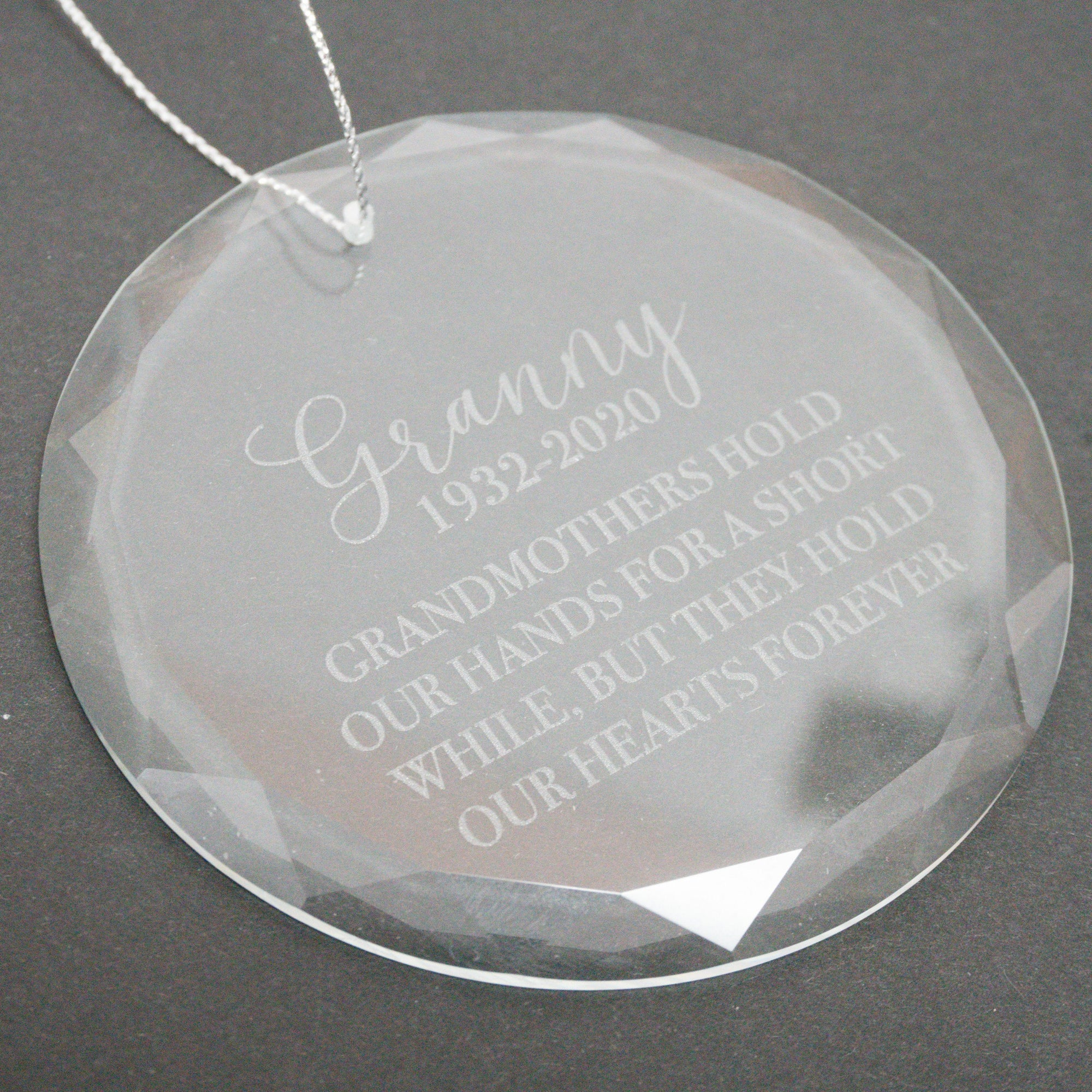 In Memory of Grandmother Glass Christmas Ornament