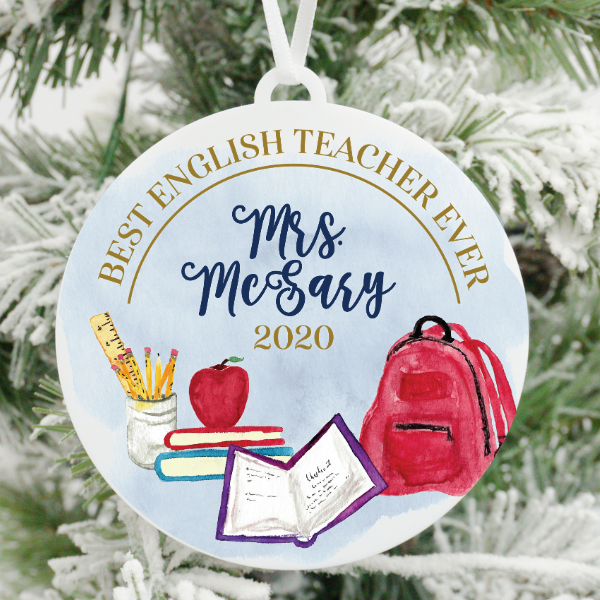 Best English Teacher Ever Personalized Christmas Ornament