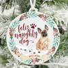 Feliz Naughty Dog Tan French Bulldog Christmas Ornament
