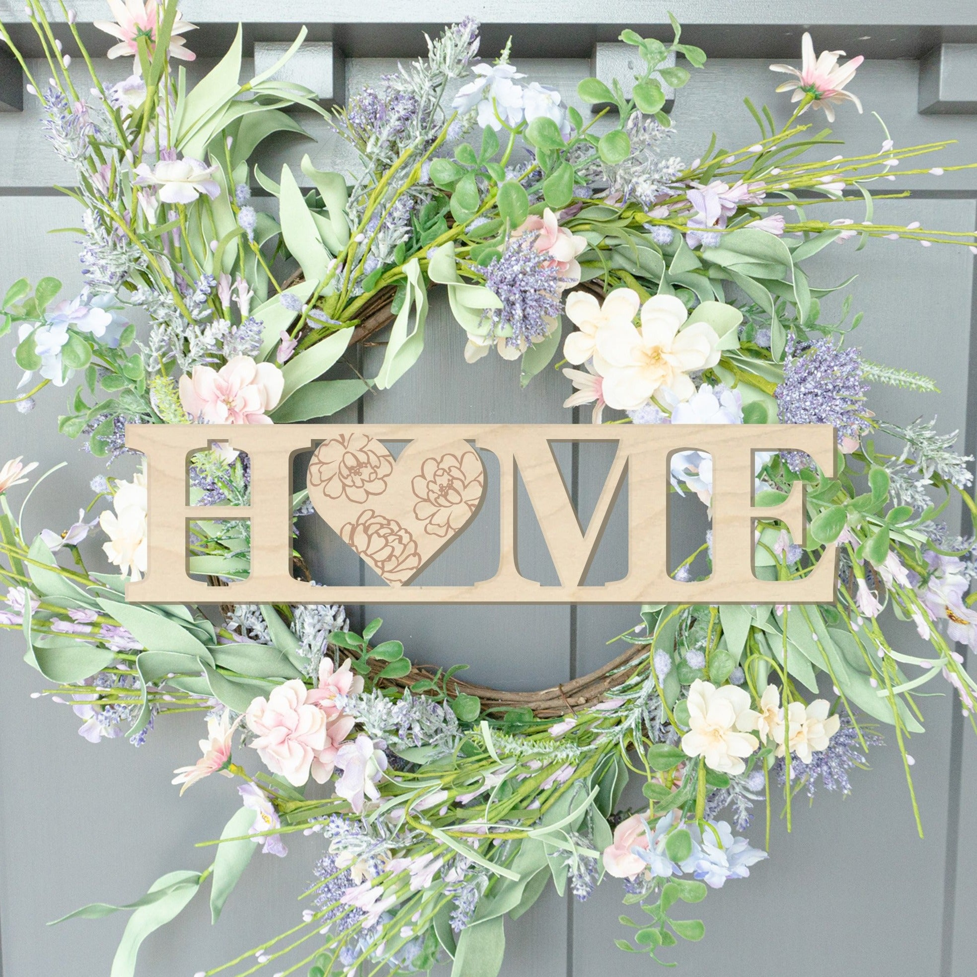Home with Heart Block Wood Front Door Sign