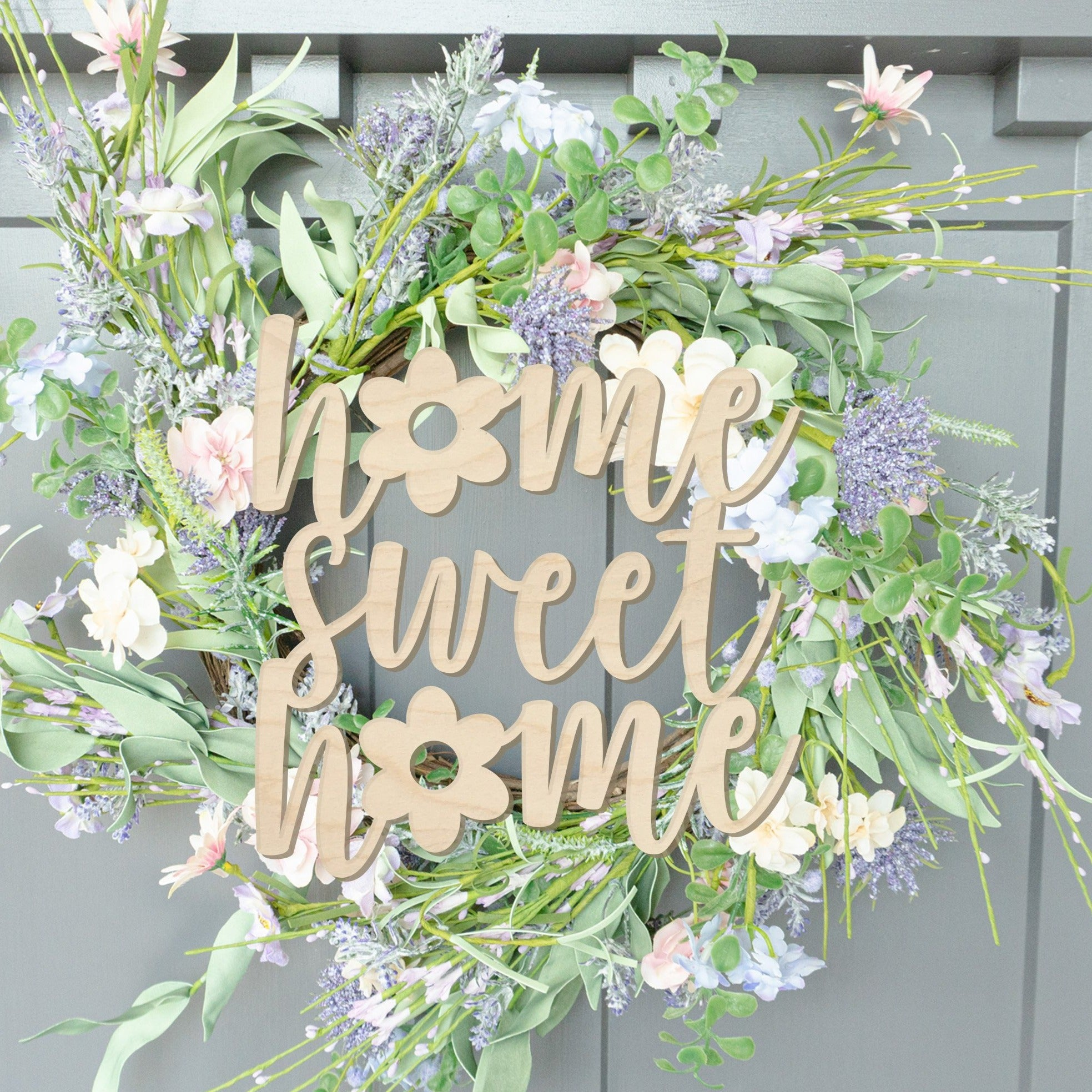 Home Sweet Home with Flower Wood Front Door Sign