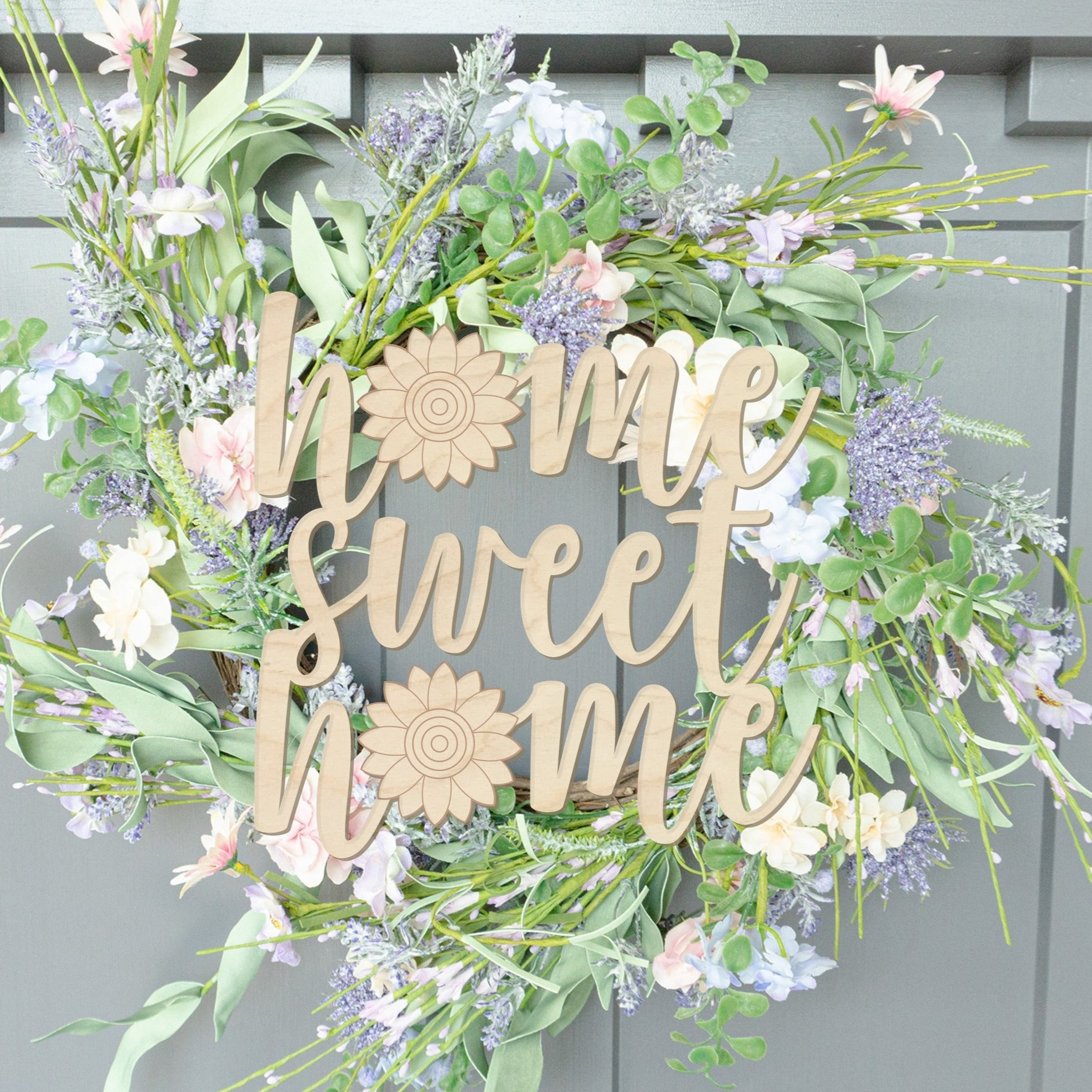 Home Sweet Home with Sunflower Wood Front Door Sign