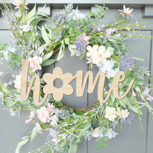 Home with Flower Script Wood Front Door Sign