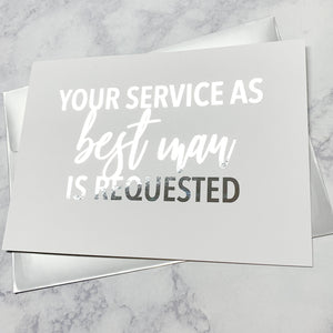Your Service as Best Man Is Requested Foiled Card & Envelope