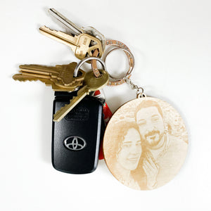Personalized Wood Photo Engraved Key Chain