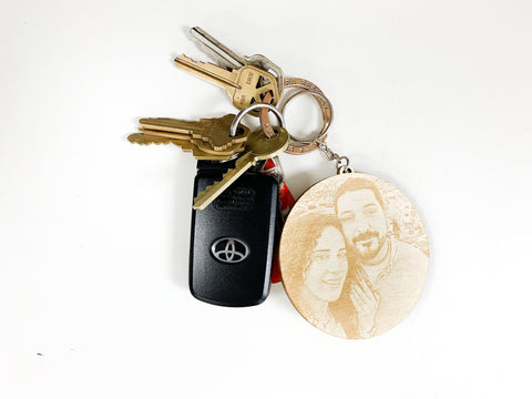Personalized Wood Photo Engraved Keychain