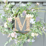 Initial Cutout with Flowers Wood Front Door Sign