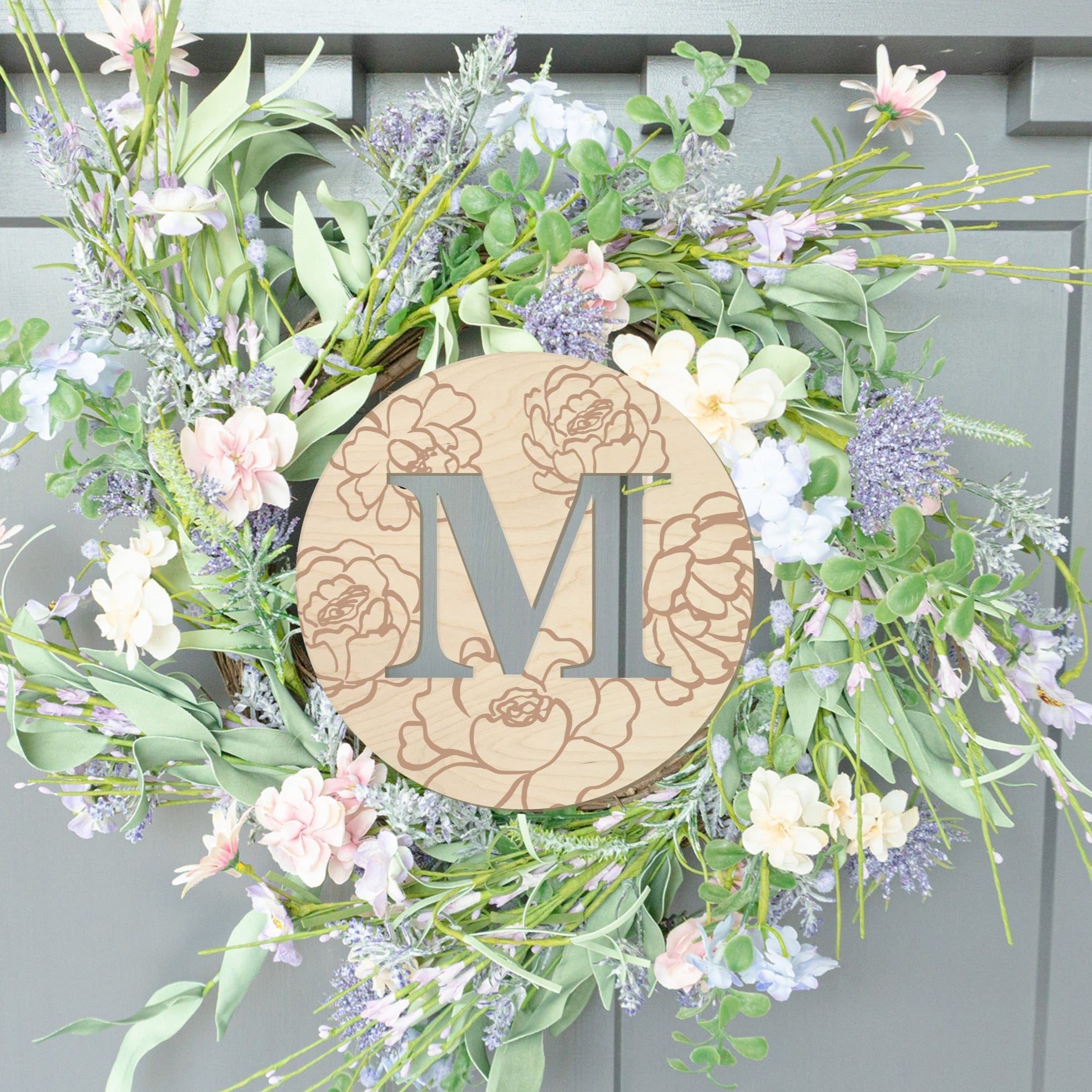 Circle with Initial and Flowers Wood Front Door Sign