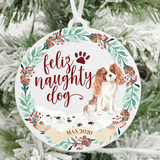 Feliz Naughty Dog Cavalier King Charles Christmas Ornament