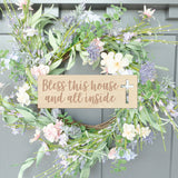 Rectangle Bless This House and All Inside Engraved Wood Front Door Sign