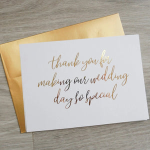 Thank You For Making Our Wedding Day So Special Foiled Card & Envelope