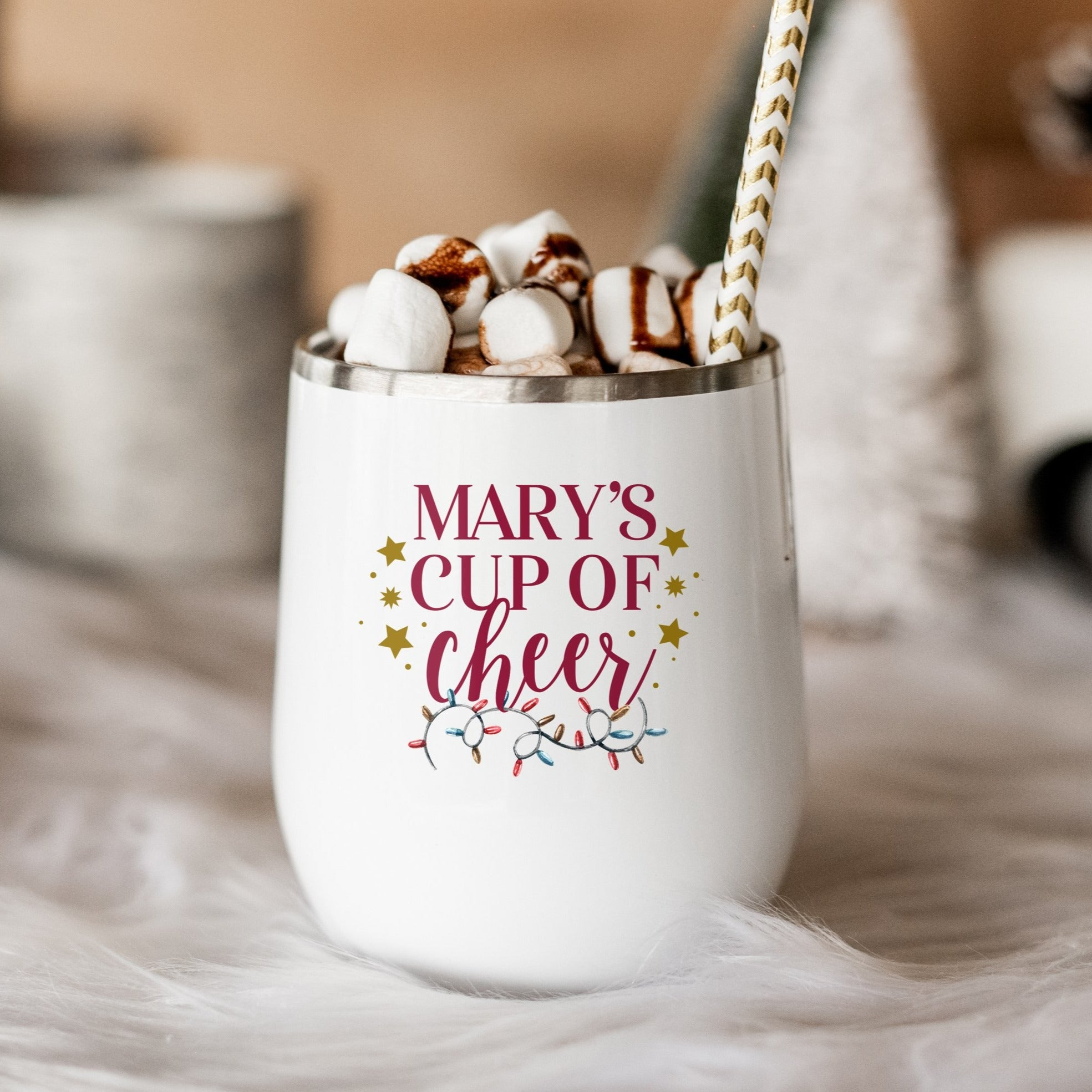 Personalized Cup of Cheer with Lights Wine Tumbler