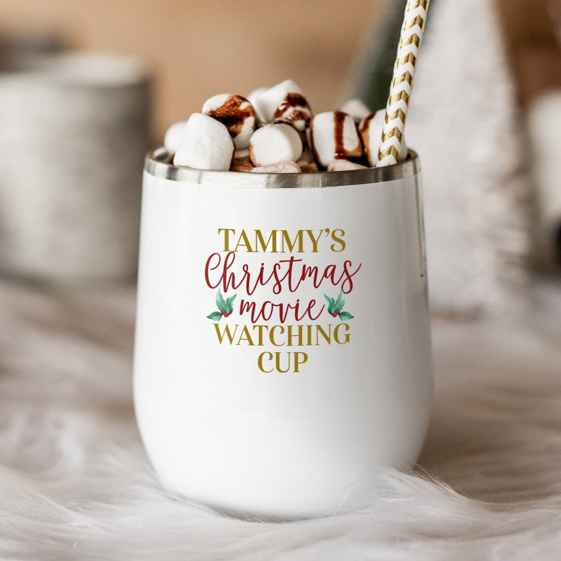Personalized Christmas Movie Watching Wine Tumbler