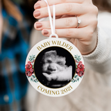 Baby Coming 2021 Red Floral Photo Christmas Ornament