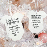 Baby Birth Stats Personalized Engraved Christmas Ornament