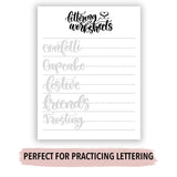 Birthday Words Lettering Practice Sheets Instant Download