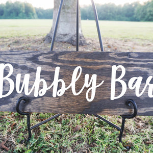 Bubbly Bar Wood Sign