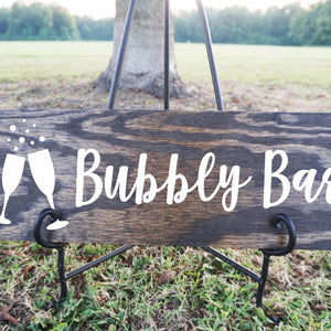 Bubbly Bar with Glasses and Bubbles Wood Sign