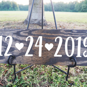 Custom Date Wood Sign with Hearts