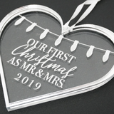First Christmas as Mr and Mrs Engraved Christmas Ornament