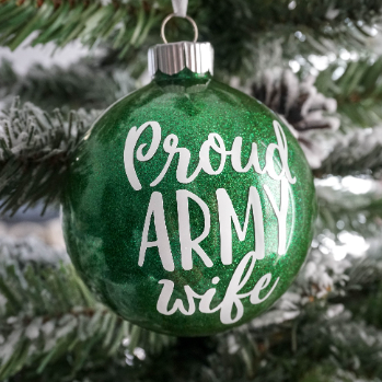 Proud Army Wife Glitter Christmas Ornament