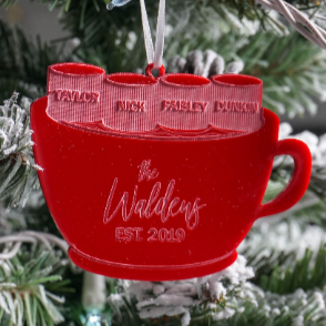Family Name Hot Chocolate Engraved Christmas Ornament