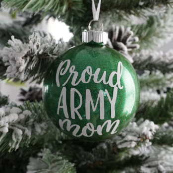 Proud Army Mom Glitter Christmas Ornament