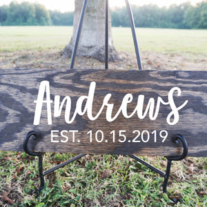 Custom Family Name and Date Wood Sign