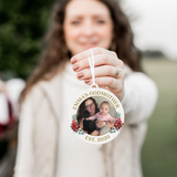 Godmother EST Red Floral Photo Christmas Ornament