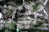 Grandma and Grandpa EST Engraved Christmas Ornament
