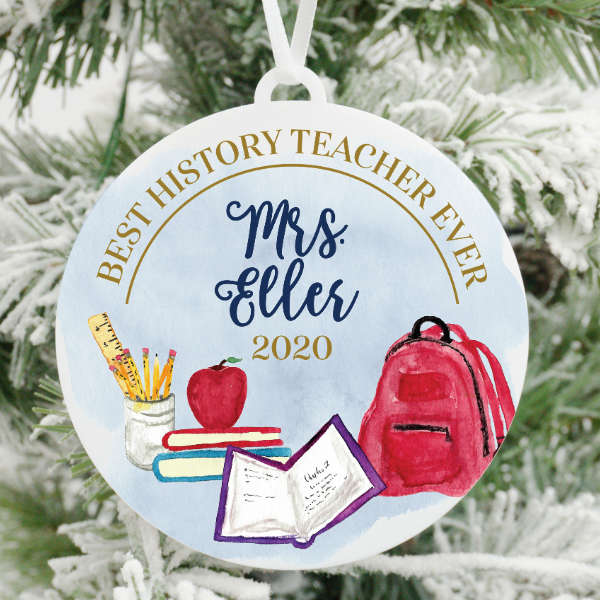 Best History Teacher Ever Personalized Christmas Ornament