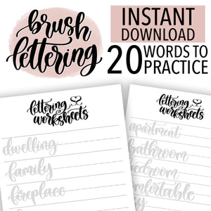 Home Words Lettering Practice Sheets Instant Download