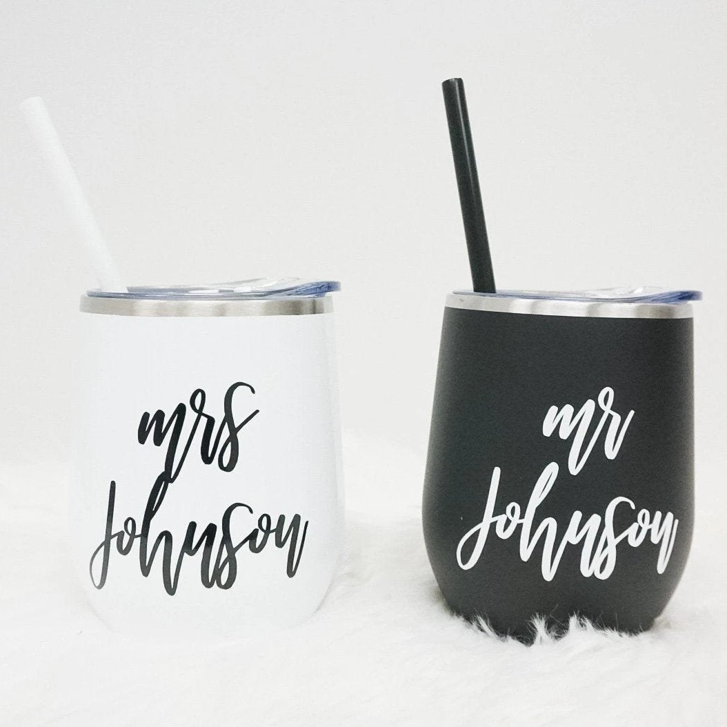 Mr and Mrs Custom Wine Tumbler Set