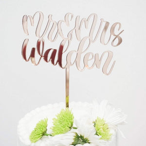Calligraphy Style Mr & Mrs Personalized Cake Topper