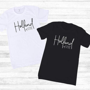 Personalized Name and Date Shirt Set